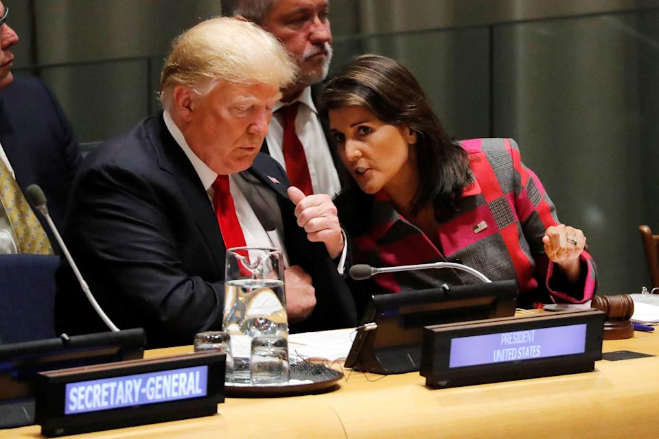 President Trump and U.N. Ambassador Nikki Haley attend the United Nations General Assembly in New York, Sept. 24, 2018. (Carlos Barria/Reuters)
