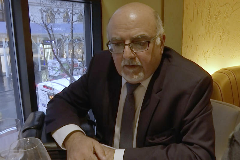 "In this image from video, a man identified as former Israeli intelligence officer Aharon Almog-Assouline speaks during an interview at a restaurant in New York on Thursday, Jan. 24, 2019. Newly filed Canadian court documents say Almog-Assouline bears a ""striking resemblance"" to a spy active in Toronto in 2017. (AP Photo/Joseph Frederick)"