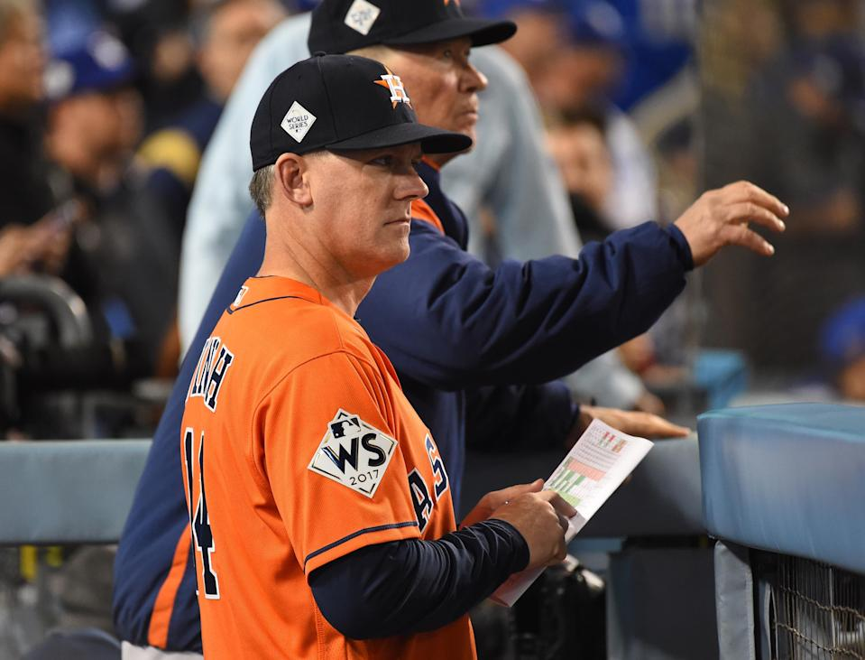 Houston Astros manager A.J. Hinch in the dugout in the 7th inning against the Los Angeles Dodgers Game 7 of the World Series at Dodger Stadium, Nov. 1, 2017.