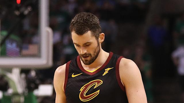 Kevin Love knocked heads with Celtics rookie Jayson Tatum in the first quarter.