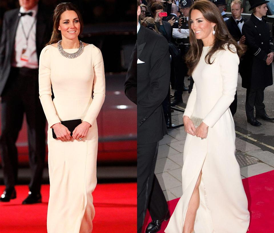 <p>Duchess Kate donned this simple ivory Roland Mouret gown to a dinner for the Thirty Club in May 2012 and to a film premiere in December 2013. </p>