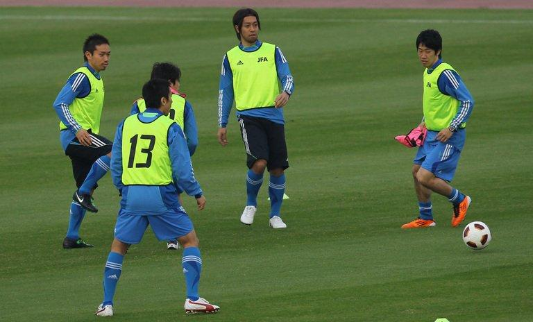 Japan's national soccer players train in Doha ahead of AFC Asian Cup 2011 on January 5, 2011