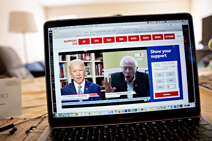 Sanders endorses Biden for the presidency during a virtual event in April. (Andrew Harrer/Bloomberg via Getty Images)