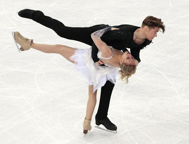 Pernelle Carron and Lloyd Jones of France compete in the ice dance free dance figure skating finals at the Iceberg Skating Palace during the 2014 Winter Olympics, Monday, Feb. 17, 2014, in Sochi, Russia. (AP Photo/Ivan Sekretarev)
