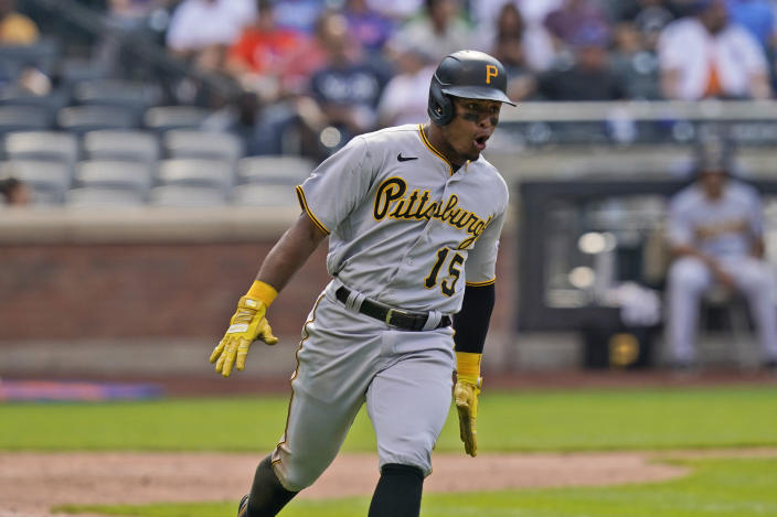Pittsburgh Pirates' Wilmer Difo reacts after hitting an RBI single to put the Pirates in the lead during the ninth inning of a baseball game against the New York Mets at Citi Field, Sunday, July 11, 2021, in New York. (AP Photo/Seth Wenig)