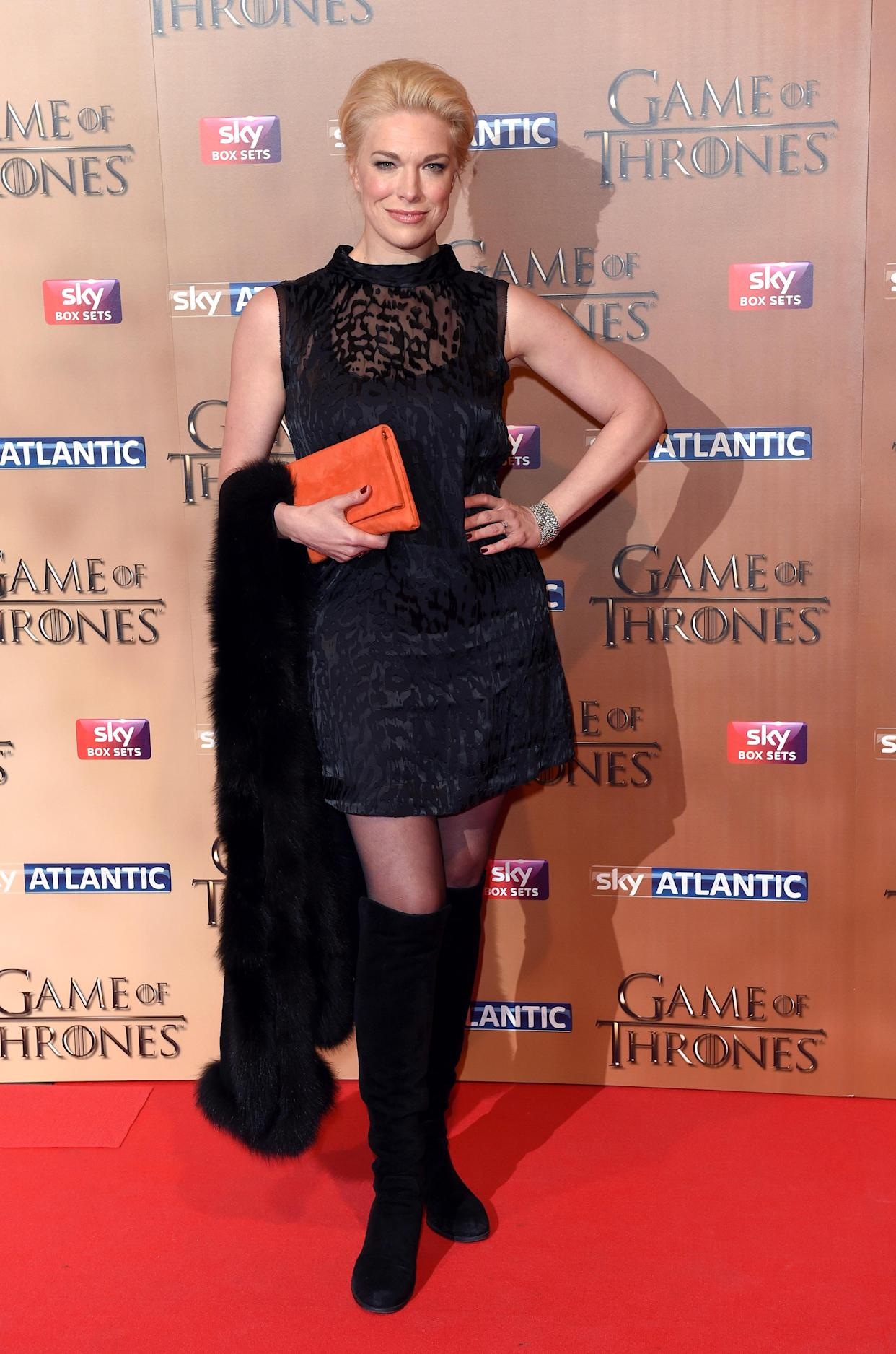 LONDON, ENGLAND - MARCH 18:  Hannah Waddingham arrives for the world premiere of Game of Thrones Season 5 at Tower of London on March 18, 2015 in London, England.  (Photo by Karwai Tang/WireImage)