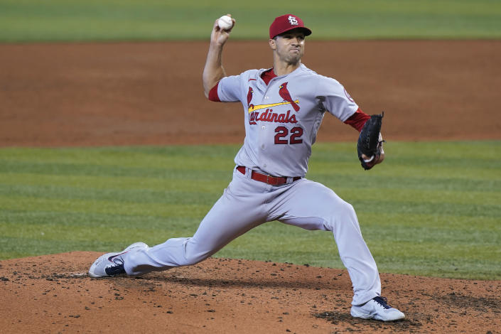 St. Louis Cardinals starting pitcher Jack Flaherty (22) throws during the third inning of the team's baseball game against the Miami Marlins, Wednesday, April 7, 2021, in Miami. (AP Photo/Marta Lavandier)