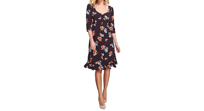Sosandar Floral Print Sweetheart Neck Dress