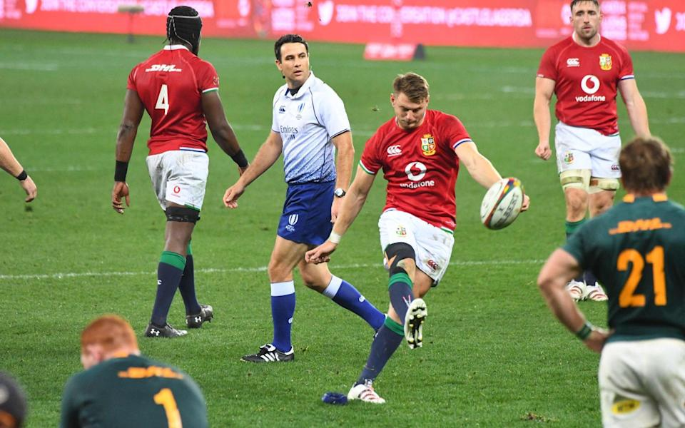 British and Irish Lions' fly-half Dan Biggar scores a penalty during the second rugby union Test match between South Africa and the British and Irish Lions - AFP