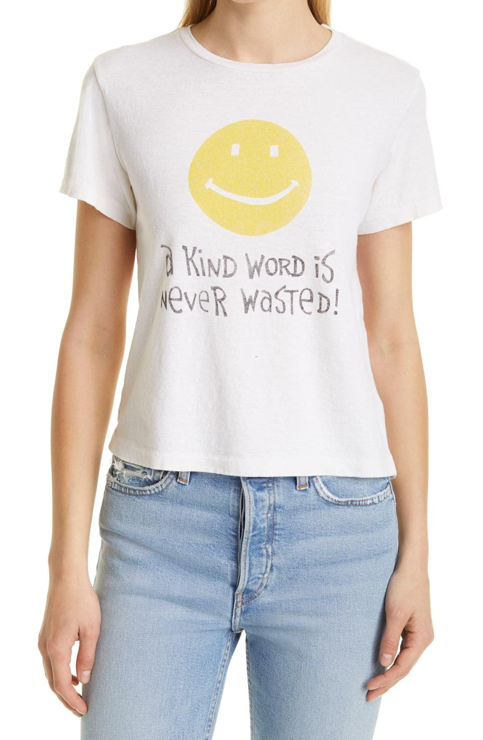 <p><span>RE/DONE A Kind Word Classic Graphic Tee</span> ($90, originally $135)</p>