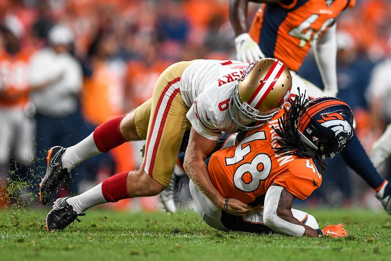 A rising star as a special teamer, Mitch Wishnowsky showed the Denver Broncos he's more than capable of delivering a big hit. (Getty)