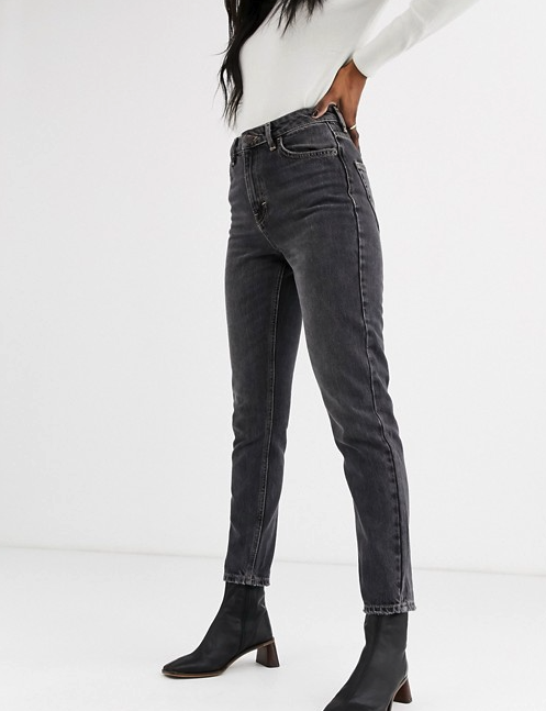 Topshop mom jeans in washed black