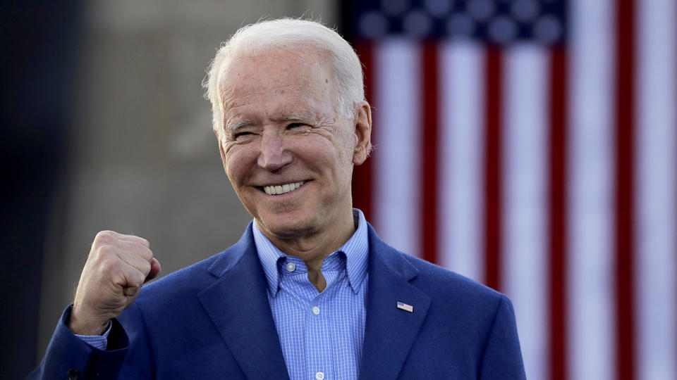 Former Vice President Joe Biden knowledges the crowd during a campaign rally Saturday, March 7, 2020, in Kansas City, Mo. (Charlie Riedel/AP)