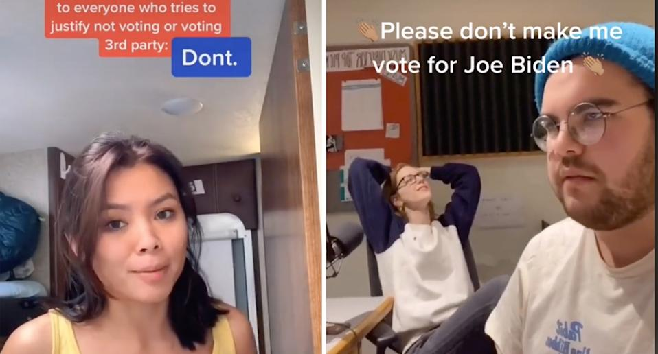 Many are less than excited about Joe Biden as a candidate. Source: TikTok