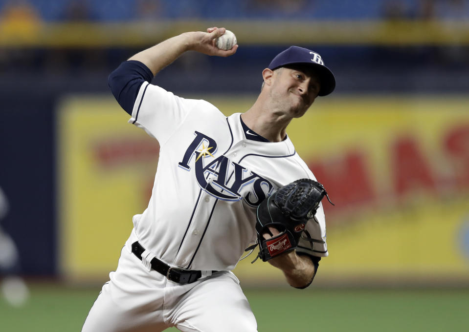 Tampa Bay Rays starting pitcher Trevor Richards delivers to the Baltimore Orioles during the first inning of the first baseball game of a doubleheader Tuesday, Sept. 3, 2019, in St. Petersburg, Fla. (AP Photo/Chris O'Meara)