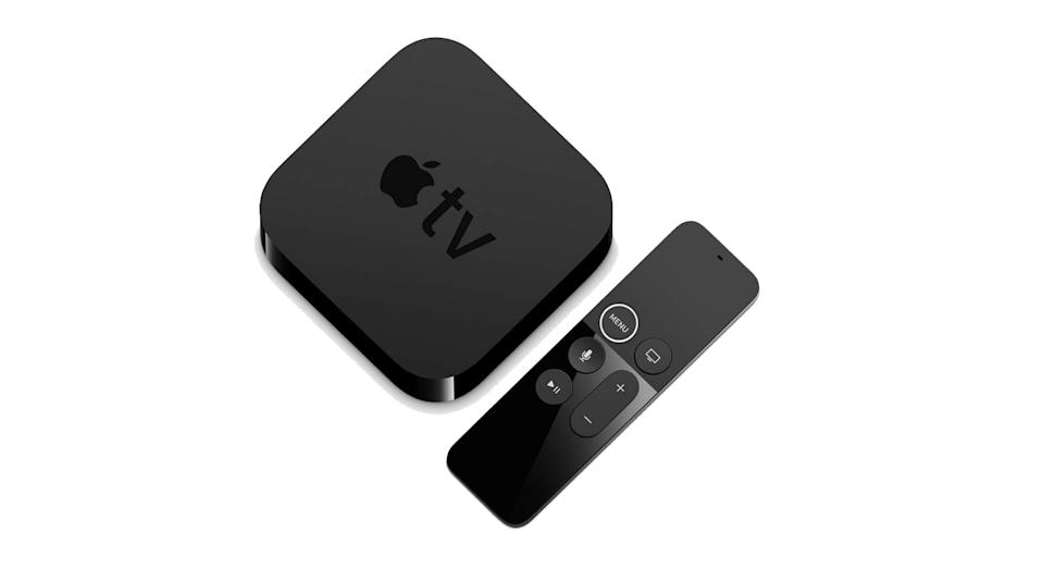 """This tiny little box lets you watch films and TV programmes in a stunning 4K HDR - and now it comes complete with Dolby Atmos surround sound. You'll also be able to view apps such as Netflix, BBC iPlayer, Now TV and Amazon Prime Video. <a href=""""https://www.amazon.co.uk/Apple-MP7P2B-TV-4K-64GB/dp/B075NHCSS4?tag=yahooukedit-21 """" rel=""""nofollow noopener"""" target=""""_blank"""" data-ylk=""""slk:Shop now"""" class=""""link rapid-noclick-resp""""><strong>Shop now</strong></a><strong>.</strong>"""