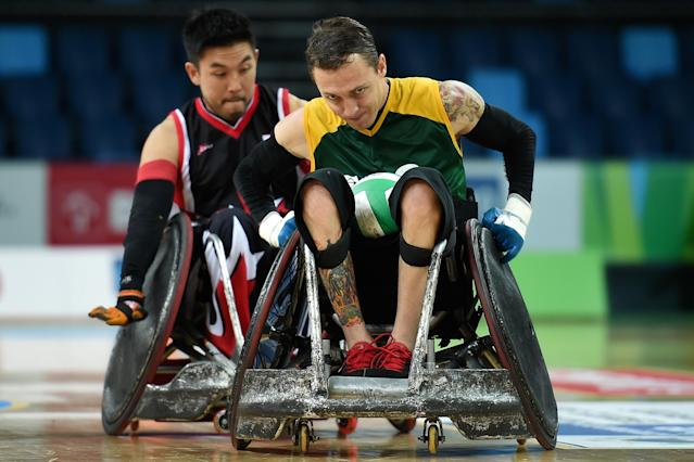 RIO DE JANEIRO, BRAZIL - FEBRUARY 26: Rafael Hoffman of Brazil competes against Trevor James of Canada during the International Wheelchair Rugby Championship - Aquece Rio Test Event for the Rio 2016 Paralympics match between Brazil and Canada at Olympic Park on February 26, 2016 in Rio de Janeiro, Brazil. (Photo by Buda Mendes/Getty Images)