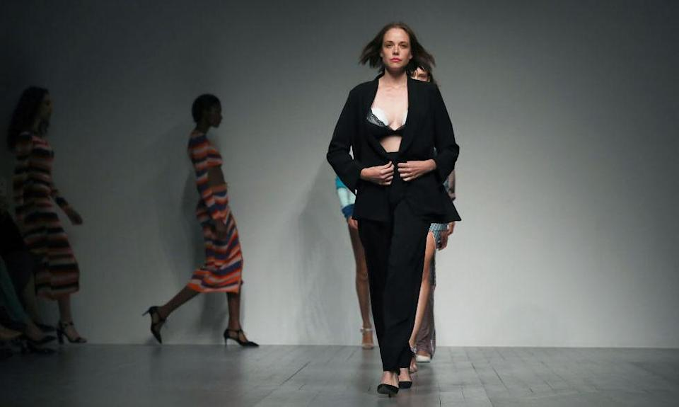 Valeria Garcia led the model pack before unveiling a wearable breast pump beneath her two-piece suit [Photo: Getty]