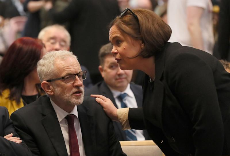 Labour Party leader Jeremy Corbyn and Sinn Fein leader Mary Lou McDonald. (Photo: PA Wire/PA Images)