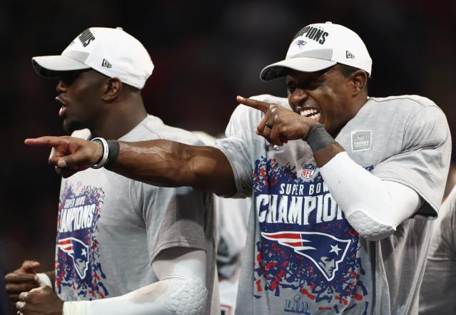<p>Matthew Slater #18 of the New England Patriots celebrates after the Patriots defeat the Los Angeles Rams 13-3 during Super Bowl LIII at Mercedes-Benz Stadium on February 3, 2019 in Atlanta, Georgia. (Photo by Jamie Squire/Getty Images) </p>