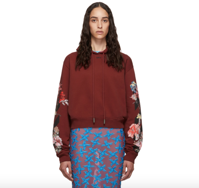 Off-White Red Cropped Flowers Hoodie