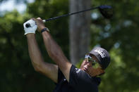 Phil Mickelson tees off on the third hole during the second round of the Charles Schwab Challenge golf tournament at the Colonial Country Club in Fort Worth, Texas, Friday, June 12, 2020. (AP Photo/David J. Phillip)