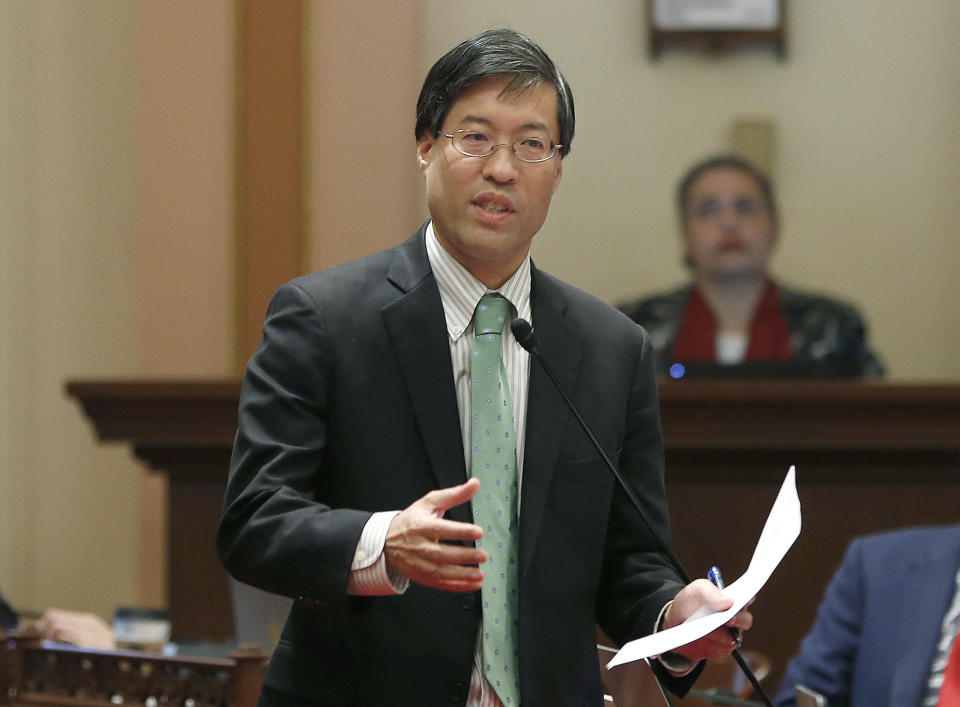 FILE - In this May 22, 2019, file photo, State Sen. Richard Pan, D-Sacramento, speaks to lawmakers in Sacramento, Calif. Pan spoke out against violence against Asians and called on California Gov. Gavin Newsom to name an attorney general from the Asian and Pacific Islander community during a news conference on March 17, 2021. (AP Photo/Rich Pedroncelli, File)