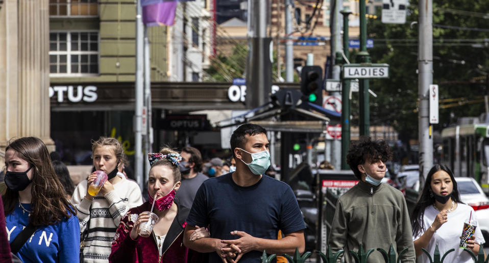 People wearing face masks are seen walking on Elisabeth Street. Victoria has recorded no new coronavirus cases or deaths for an eighth consecutive day. As people enjoy being out, tomorrow a significant step regarding the restrictions, will be taken by the Premier Daniel Andrews. (Photo by Diego Fedele / SOPA Images/Sipa USA)