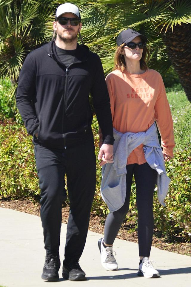 <p>Chris Pratt and wife Katherine Schwarzenegger hold hands while out for a walk in Santa Monica on Wednesday.</p>