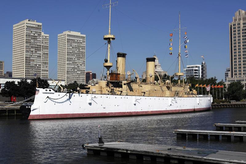 FILE- This Aug. 30, 2010 file photo shows the USS Olympia, which served as flagship of the Asiatic Squadron in the Spanish-American War, in Philadelphia. The USS Olympia, a one-of-a-kind steel cruiser from the Spanish-American War, has undergone extensive repairs that make it more stable than it has been in years as the field for prospective caretaker has narrowed to groups in San Francisco and South Carolina. (AP Photo/Matt Rourke, File)