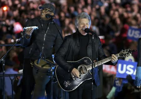 Recording artist Jon Bon Jovi performs during a campaign event for U.S. Democratic presidential nominee Hillary Clinton in Philadelphia