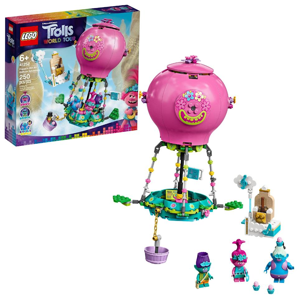 "<p>The <a href=""https://www.popsugar.com/buy/Lego-Trolls-World-Tour-Poppy-Hot-Air-Balloon-Adventure-Set-538615?p_name=Lego%20Trolls%20World%20Tour%20Poppy%27s%20Hot%20Air%20Balloon%20Adventure%20Set&retailer=walmart.com&pid=538615&price=24&evar1=moms%3Aus&evar9=47244751&evar98=https%3A%2F%2Fwww.popsugar.com%2Ffamily%2Fphoto-gallery%2F47244751%2Fimage%2F47244780%2FLego-Trolls-World-Tour-Poppy-Hot-Air-Balloon-Adventure-Set&list1=toys%2Clego%2Ctoy%20fair%2Ckid%20shopping%2Ckids%20toys&prop13=api&pdata=1"" class=""link rapid-noclick-resp"" rel=""nofollow noopener"" target=""_blank"" data-ylk=""slk:Lego Trolls World Tour Poppy's Hot Air Balloon Adventure Set"">Lego Trolls World Tour Poppy's Hot Air Balloon Adventure Set</a> ($24) has 250 pieces and is best suited for kids ages 6 and up.</p>"