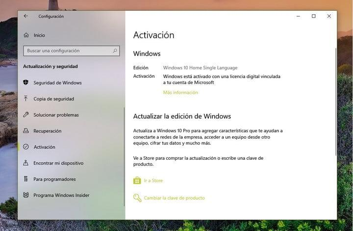 Proceso de Activación de Windows 10