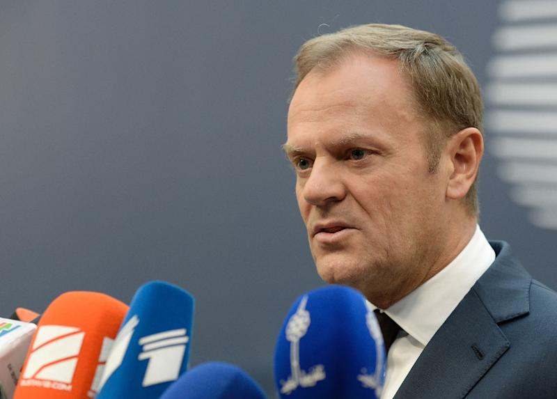 European Council President Donald Tusk speaks to reporters in Brussels, on December 17, 2015 (AFP Photo/Thierry Charlier)