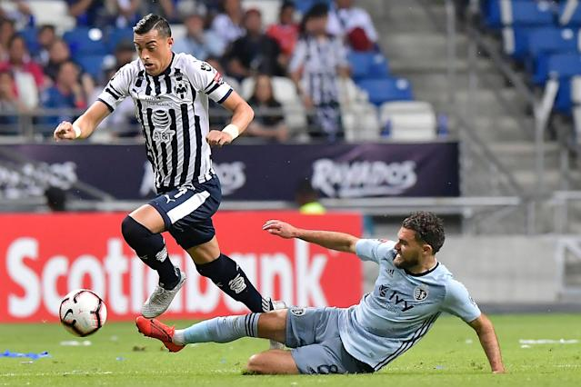 "Rogelio Funes Mori (left) and Monterrey were a step ahead of Graham Zusi and <a class=""link rapid-noclick-resp"" href=""/soccer/teams/sporting-kansas-city/"" data-ylk=""slk:Sporting Kansas City"">Sporting Kansas City</a>, meaning a Liga MX team will likely claim the CONCACAF Champions League title yet again. (Getty)"