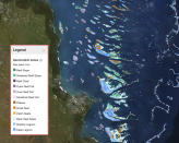 This Sept. 1, 2021, screen grab provided by the Allen Coral Atlas shows a map of the Great Barrier Reef in Australia. Researchers have completed a comprehensive online map of the world's coral reefs by using more than 2 million satellite images from across the globe. The Allen Coral Atlas was named after late Microsoft co-founder Paul Allen and will act as a reference for reef conservation, marine planning and coral science as researchers try to save these fragile ecosystems that are being lost to climate change. (Allen Coral Atlas via AP)