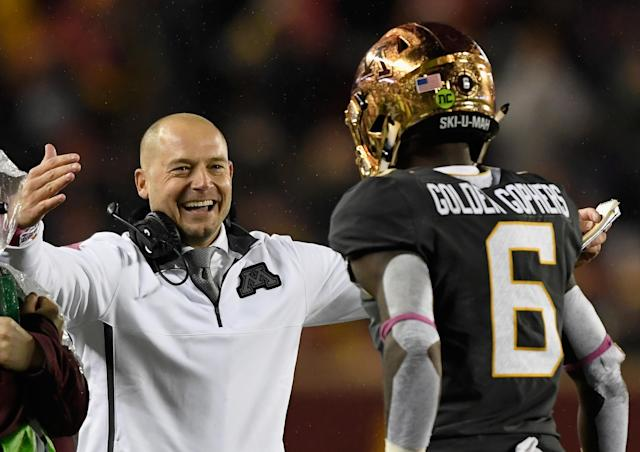 Minnesota head coach P.J. Fleck congratulates Tyler Johnson on scoring a touchdown against Indiana (Getty Images).