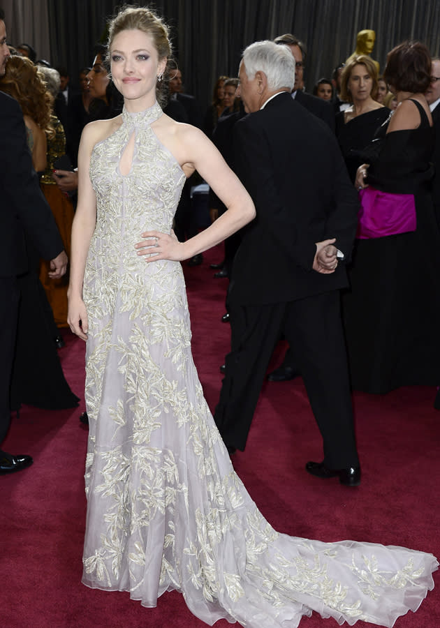 Amanda Seyfried wowed in a halterneck Alexander McQueen gown on the Oscars red carpet ©Getty
