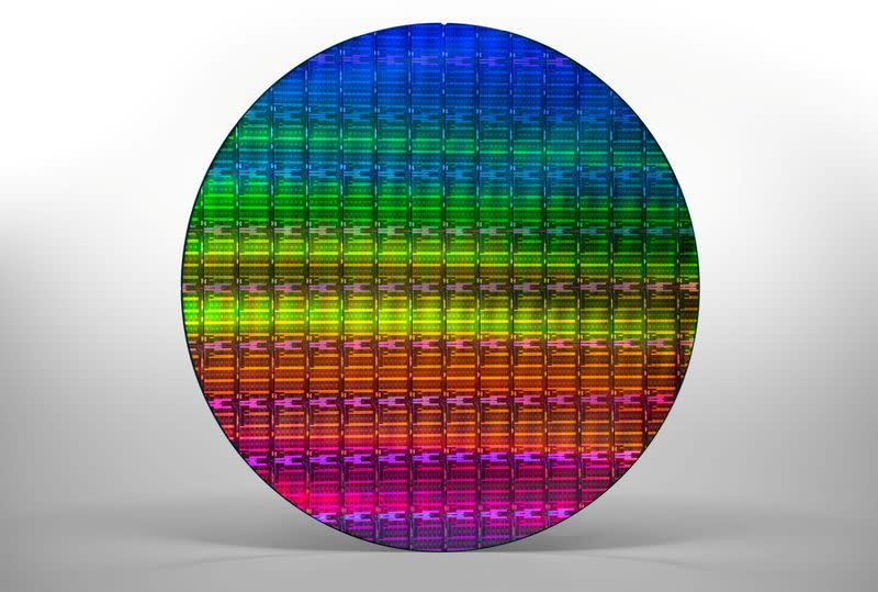 """Handout photo of a silicon wafer containing multiple of Intel Corp's """"Ice Lake"""" data center chips"""