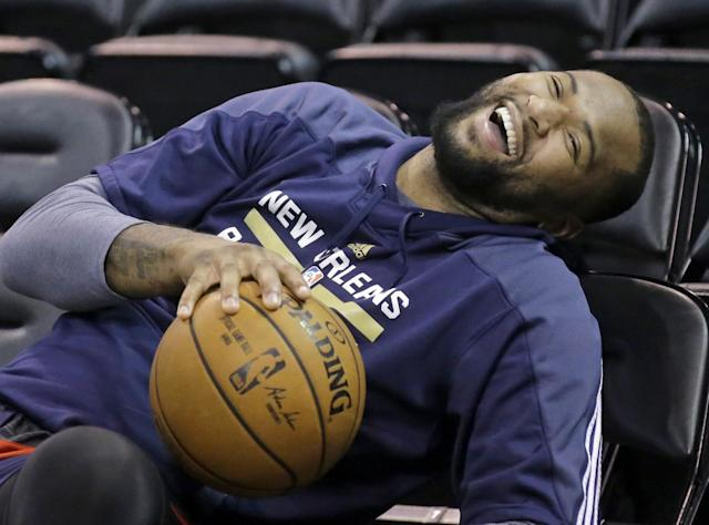 "<a class=""link rapid-noclick-resp"" href=""/nba/players/4720/"" data-ylk=""slk:DeMarcus Cousins"">DeMarcus Cousins</a> likes to have fun. (AP)"