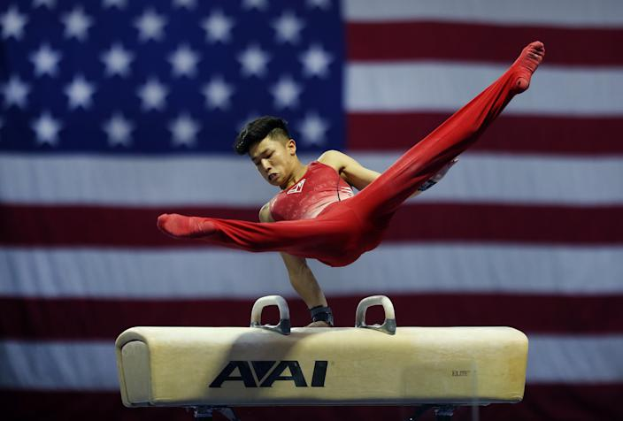 Yul Moldauer competes in the Pommel Horse during the 2021 Senior Men's Winter Cup at Indiana Convention Center in Feb. 2021