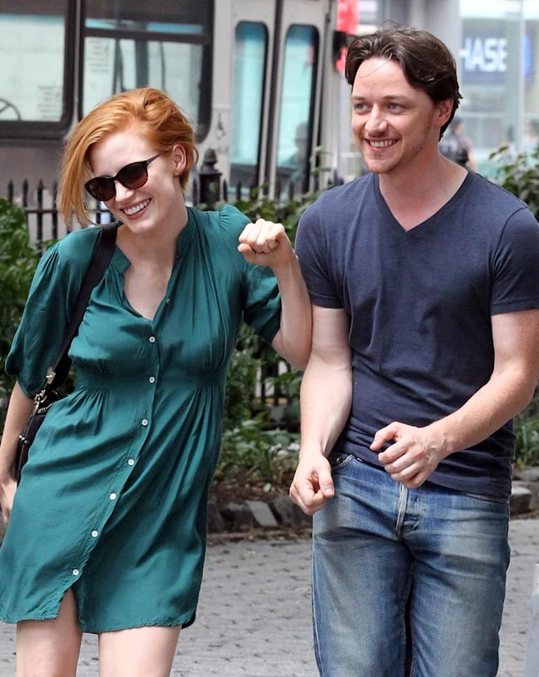 "Jessica Chastain and James McAvoy are seen on set of thier upcoming film ""The Disappearance of Eleanor Rigby"" on July 30, 2012."