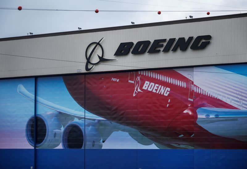 A Boeing logo is seen at the company's facility in Everett