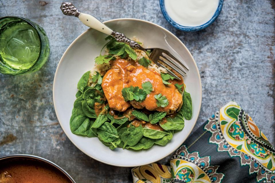 """With no marinade required—and only a few minutes on the stove-top—this flavorful boneless, skinless chicken thigh recipe is quick and easy enough for any busy weeknight. <a href=""""https://www.epicurious.com/recipes/food/views/weeknight-tandoori-chicken?mbid=synd_yahoo_rss"""" rel=""""nofollow noopener"""" target=""""_blank"""" data-ylk=""""slk:See recipe."""" class=""""link rapid-noclick-resp"""">See recipe.</a>"""