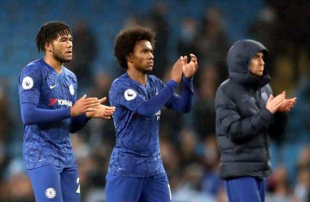 Chelsea's Reece James (left) and Willian applaud fans at the end of the game (Nick Potts/PA)