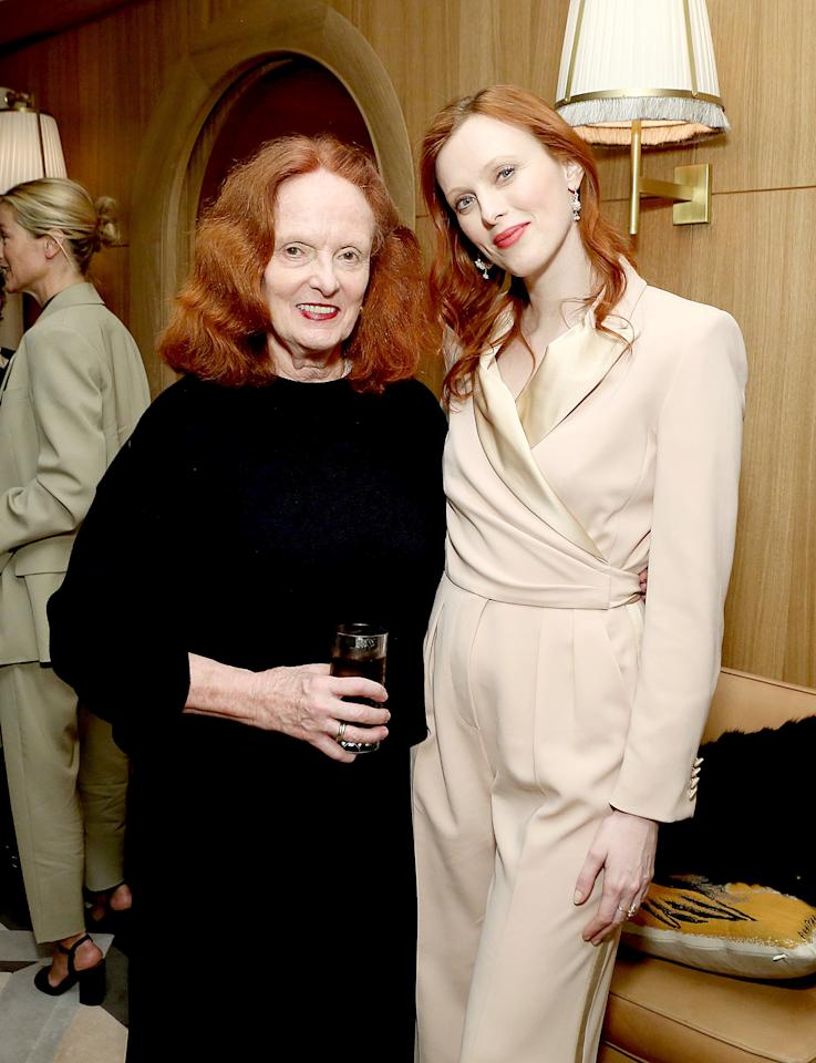Grace Coddington and Karen Elson attend Tabitha Simmons 10 Year Anniversary Dinner At L'Avenue At Saks on November 13 in New York.