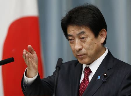 File picture shows Japan's new Labour, Health and Welfare Minister Shiozaki speaking during a news conference at Prime Minister Shinzo Abe's official residence in Tokyo