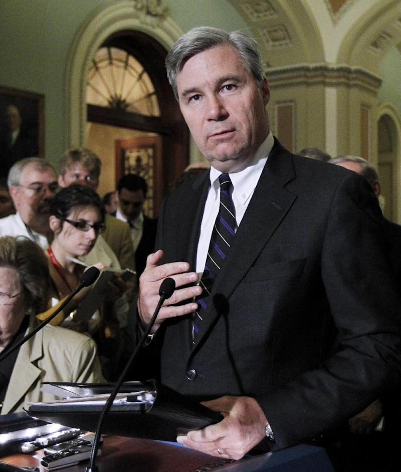 "In this photo taken June 29, 2011, photo Sen. Sheldon Whitehouse, D-R.I., speaks to reporters on Capitol Hill in Washington. Whitehouse is among a small group in the Senate pushing campaign finance reform measures that would force outside groups to disclose their donors. The Internal Revenue Service has endured withering criticism for its scrutiny of conservative political groups during the 2012 elections. ""The IRS goes AWOL when wealthy and powerful forces want to break the law in order to hide their wrongful efforts and secret political influence,"" he says. ""Picking on the little guy is a pretty lousy thing to do.""  (AP Photo/Manuel Balce Ceneta)"