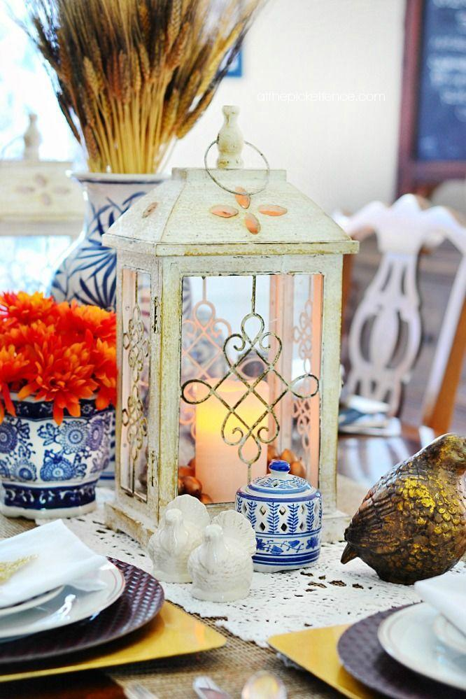 """<p>Forgo the typical rustic hues of Thanksgiving decor and follow blogger Heather's cue by adorning your table with shades of blue, white, and gold. </p><p><strong>Get the tutorial at <a href=""""http://www.atthepicketfence.com/2014/11/blue-and-white-thanksgiving-table.html"""" rel=""""nofollow noopener"""" target=""""_blank"""" data-ylk=""""slk:At the Picket Fence"""" class=""""link rapid-noclick-resp"""">At the Picket Fence</a>.</strong></p><p><strong><a class=""""link rapid-noclick-resp"""" href=""""https://www.amazon.com/Mega-Candles-Unscented-Receptions-Celebrations/dp/B00ATGA136?tag=syn-yahoo-20&ascsubtag=%5Bartid%7C10050.g.2130%5Bsrc%7Cyahoo-us"""" rel=""""nofollow noopener"""" target=""""_blank"""" data-ylk=""""slk:SHOP WHITE CANDLES"""">SHOP WHITE CANDLES</a><br></strong></p>"""