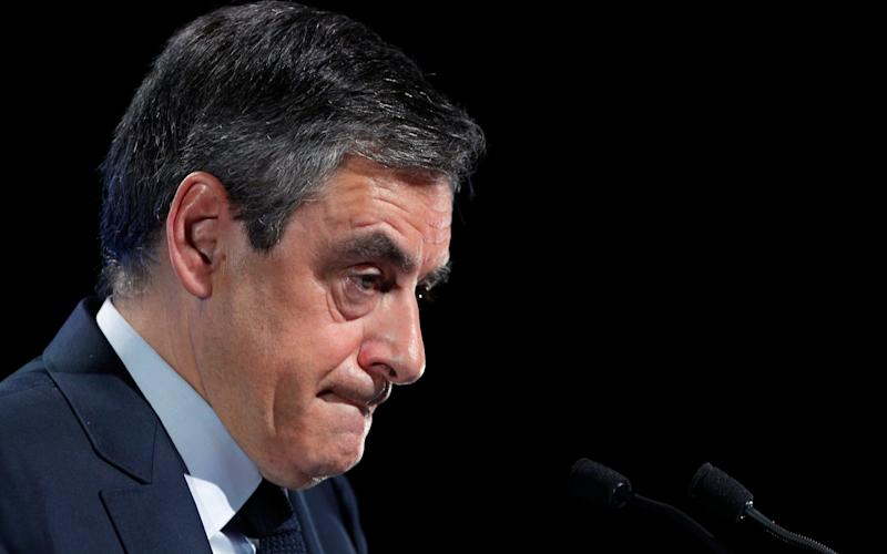 Francois Fillon delivers his speech during a campaign meeting in Aubervilliers, outside Paris, France, Saturday, March 4, 2017 - Credit: Christophe Ena/AP